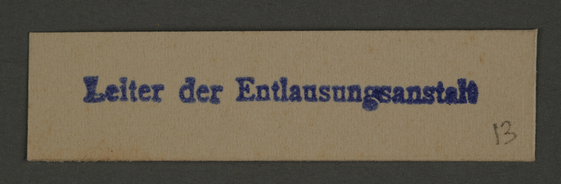 1995.89.143 front Ink stamp impression of the Leader of the Delousing Station in the Kovno ghetto