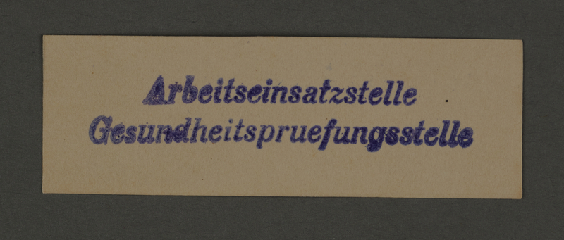 1995.89.152 front Ink stamp impression of the Health Testing Office of the Labor Force Office in the Kovno ghetto