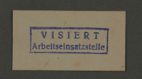 1995.89.155 front Ink stamp impression of the Labor Force Office in the Kovno ghetto  Click to enlarge