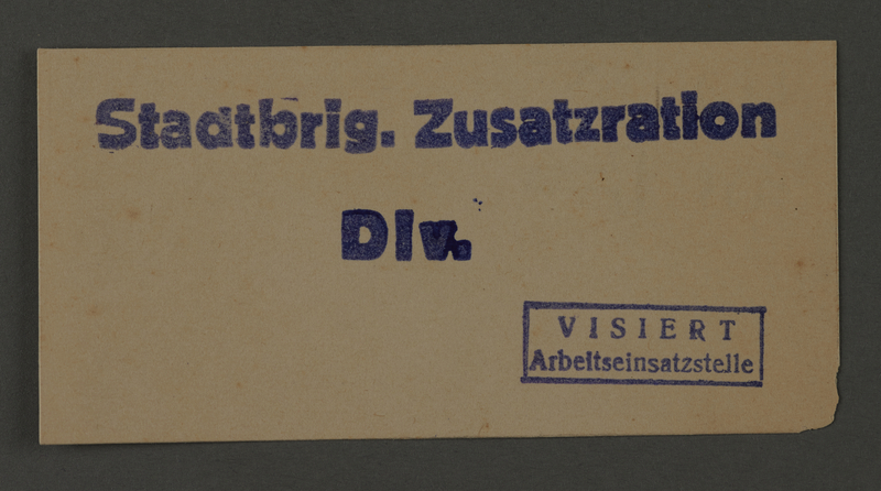 1995.89.160 front Ration card from the Kovno ghetto