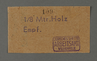 1995.89.168 front Receipt from the Kovno ghetto  Click to enlarge
