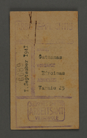 1995.89.169 front Work permit from the Kovno ghetto  Click to enlarge