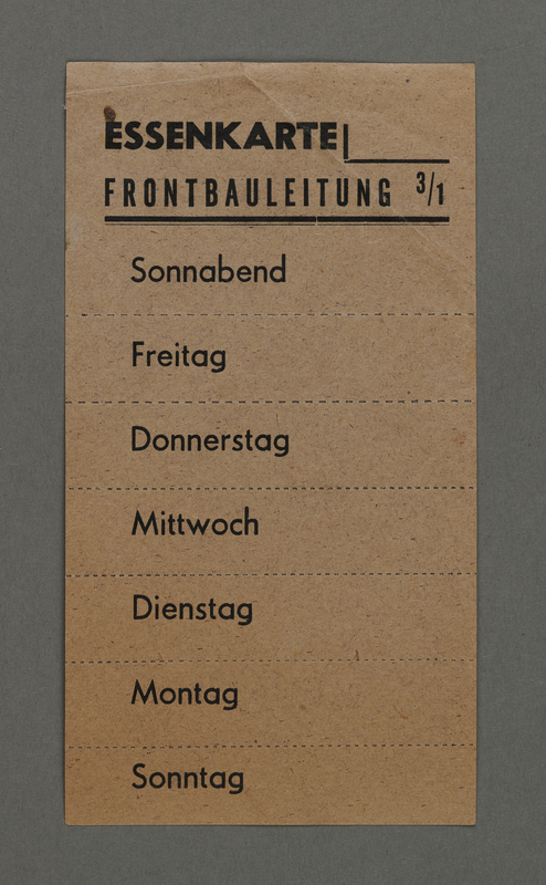 1995.89.170 front Meal card for workers in the Kovno ghetto