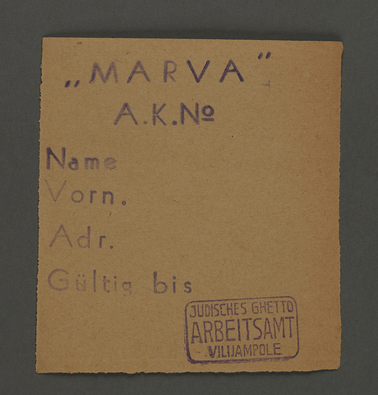 1995.89.171 front Work pass from the Kovno ghetto
