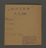 1995.89.171 front Work pass from the Kovno ghetto  Click to enlarge