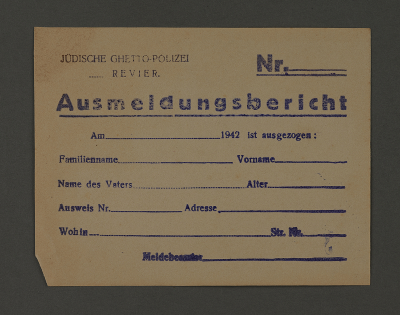 1995.89.173 front Jewish police registration form from the Kovno ghetto