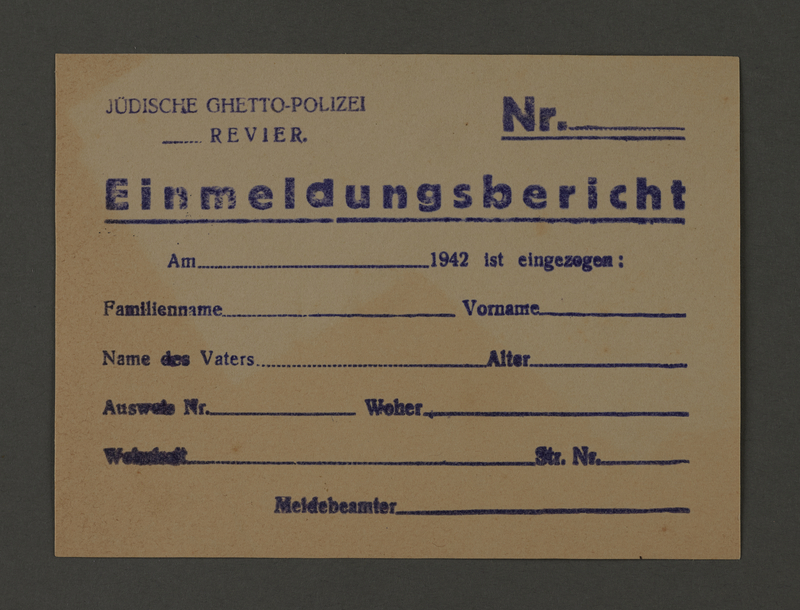 1995.89.174 front Jewish police registration form from the Kovno ghetto
