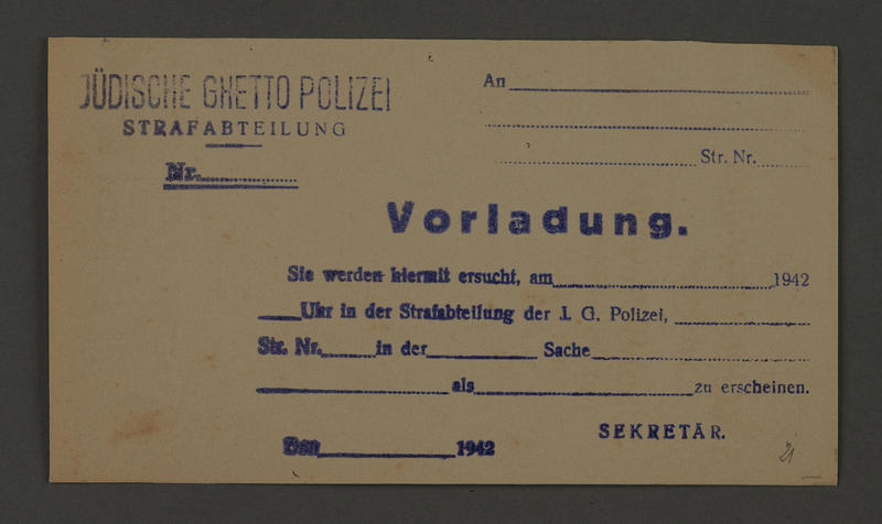 1995.89.175 front Summons from the Punishment Office of the Jewish Ghetto Police of the Kovno ghetto