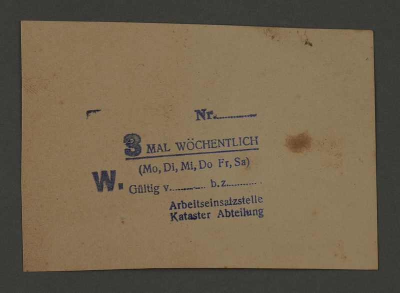 1995.89.180 front Work permit from the Kovno ghetto