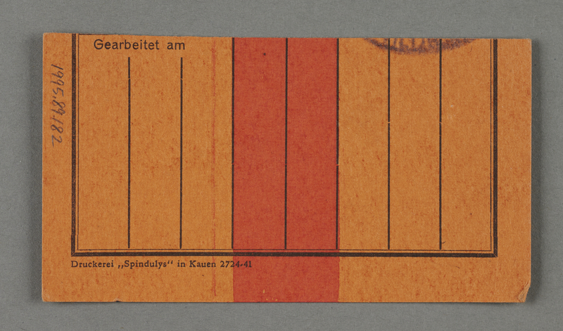 1995.89.182 back Work permit from the Kovno ghetto