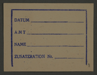 1995.89.189 front Ration card from the Kovno ghetto  Click to enlarge