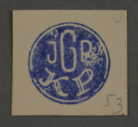 1995.89.194 front Ink stamp impression of the Jewish Ghetto Police in Kovno, Lithuania  Click to enlarge
