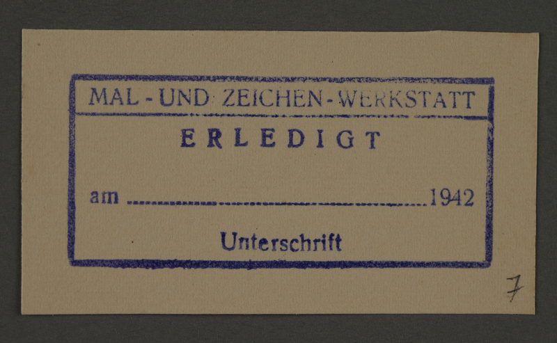 1995.89.202 front Permit ink stamp impression of the Paint and Sign Workshop of the Altestenrat (Council of Elders) of Kovno the ghetto