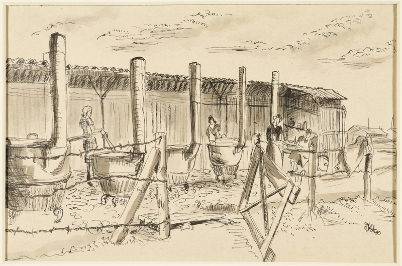 1988.1.35 front Drawing of women cooking outdoors by a German Jewish internee