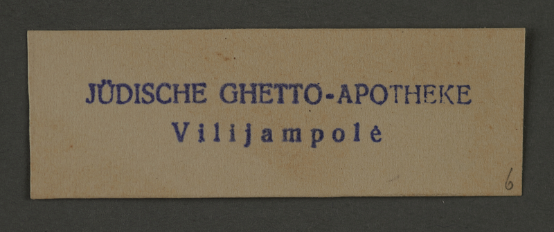 1995.89.204 front Ink stamp impression of the Jewish pharmacy in the Kovno ghetto
