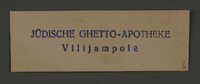 1995.89.204 front Ink stamp impression of the Jewish pharmacy in the Kovno ghetto  Click to enlarge