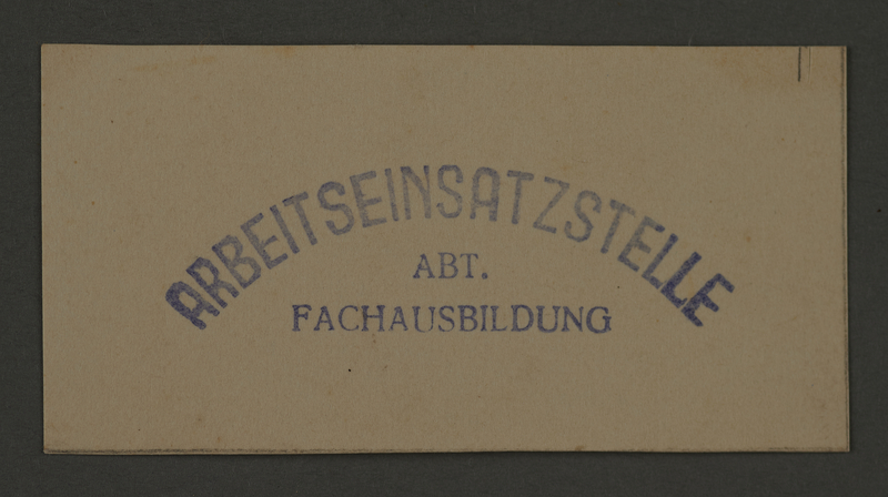 1995.89.208 front Ink stamp impression of the Labor Insertion Office, Division of Specialized Training, in the Kovno ghetto