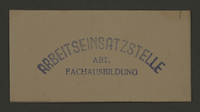 1995.89.208 front Ink stamp impression of the Labor Insertion Office, Division of Specialized Training, in the Kovno ghetto  Click to enlarge