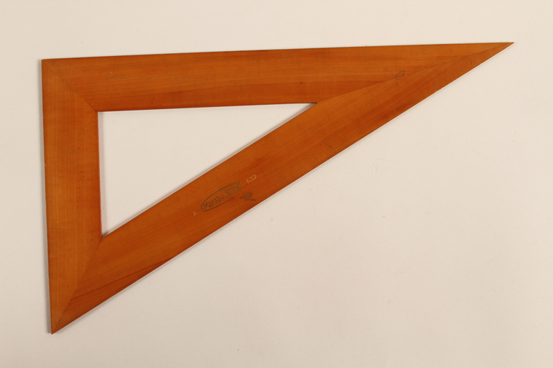 1989.303.16 front Wooden drafting triangle used by a Czech Jewish camp inmate