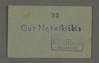 1995.89.213 front Labor pass from the Kovno ghetto  Click to enlarge