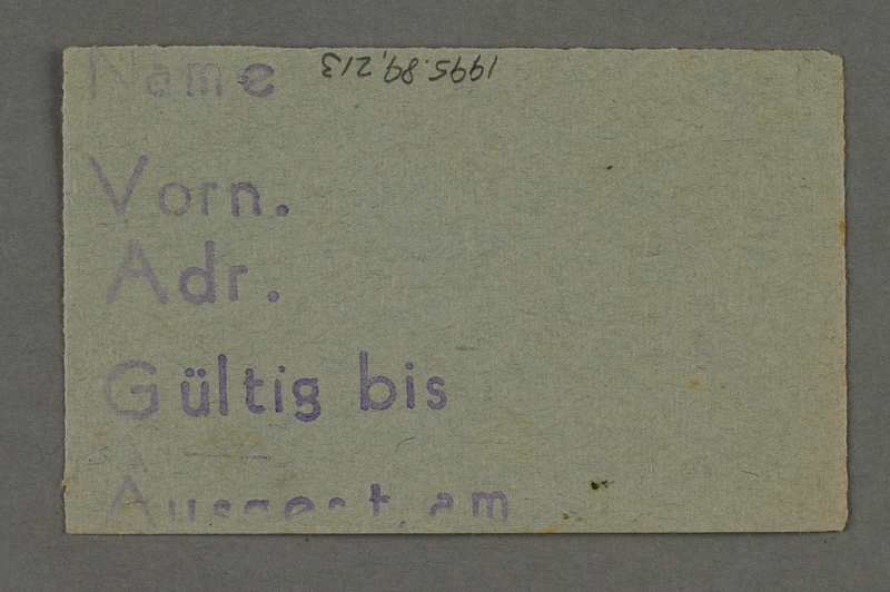1995.89.213 front Labor pass from the Kovno ghetto