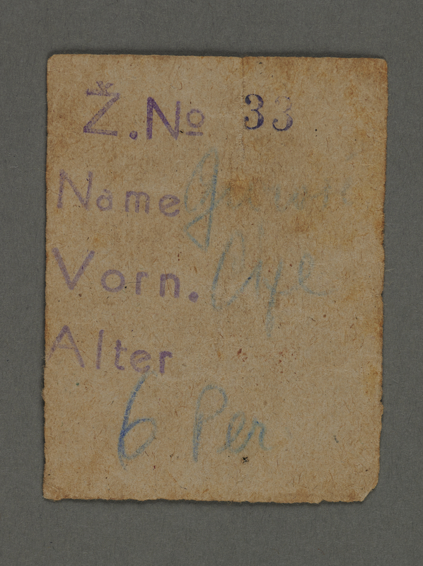 1995.89.214 front Identity document from the Kovno ghetto