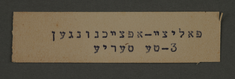 1995.89.217 front Typewritten inscription made by an administrative department of the Kovno ghetto