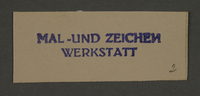 1995.89.220 front Ink stamp impression of the Painting and Signage Workshop in the Kovno ghetto  Click to enlarge