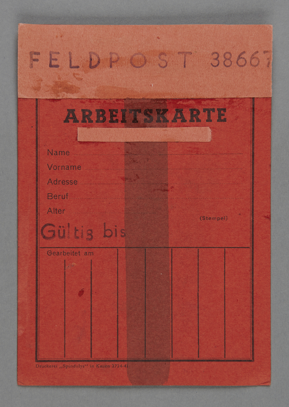 1995.89.237 front Work permit from the Kovno ghetto
