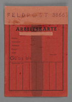1995.89.237 front Work permit from the Kovno ghetto  Click to enlarge