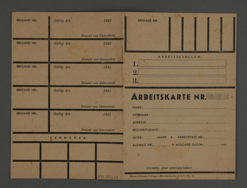 1995.89.238 front Work permit from the Kovno ghetto