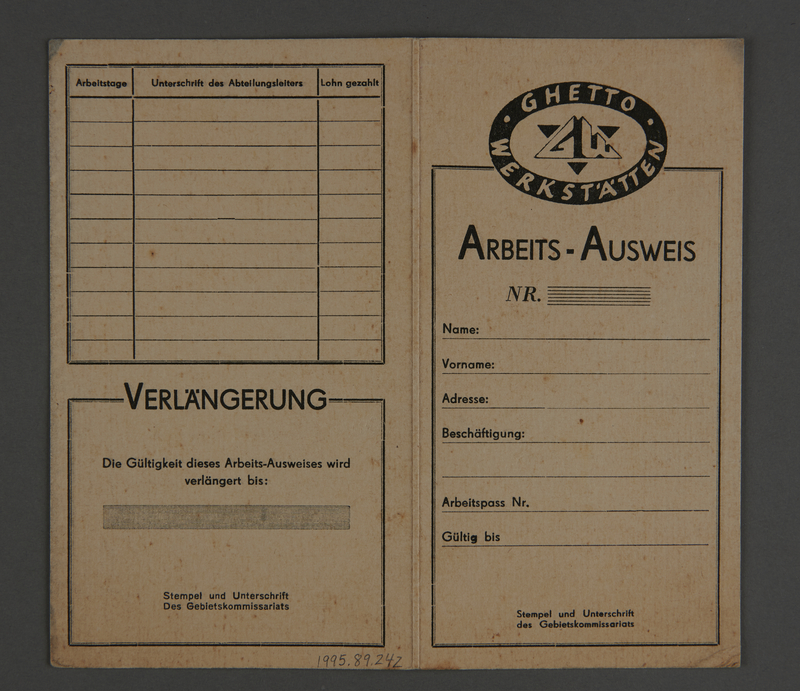 1995.89.242 front Work identification card from the Kovno ghetto
