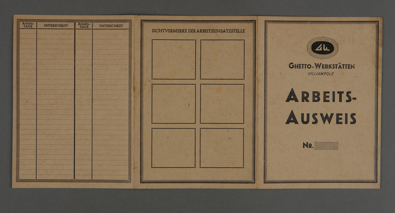 1995.89.244 front Work identification card from the Kovno ghetto