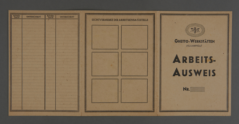 1995.89.245 front Work identification card from the Kovno ghetto