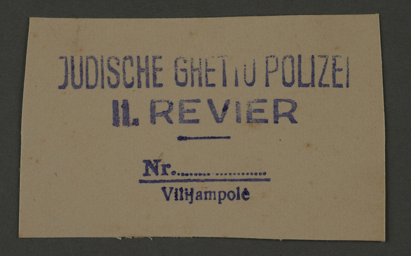 1995.89.247 front Ink stamp impression of the Jewish Ghetto Police of the Kovno ghetto