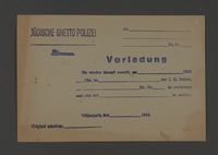 1995.89.249 front Summons issued from the Jewish Ghetto Police in Kovno, Lithuania  Click to enlarge