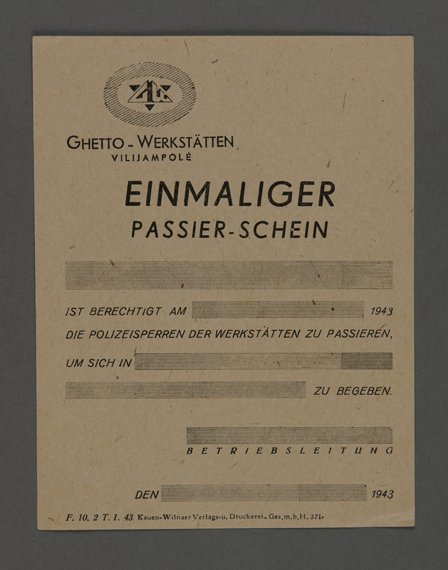 1995.89.254 front Pass from the Kovno ghetto workshops