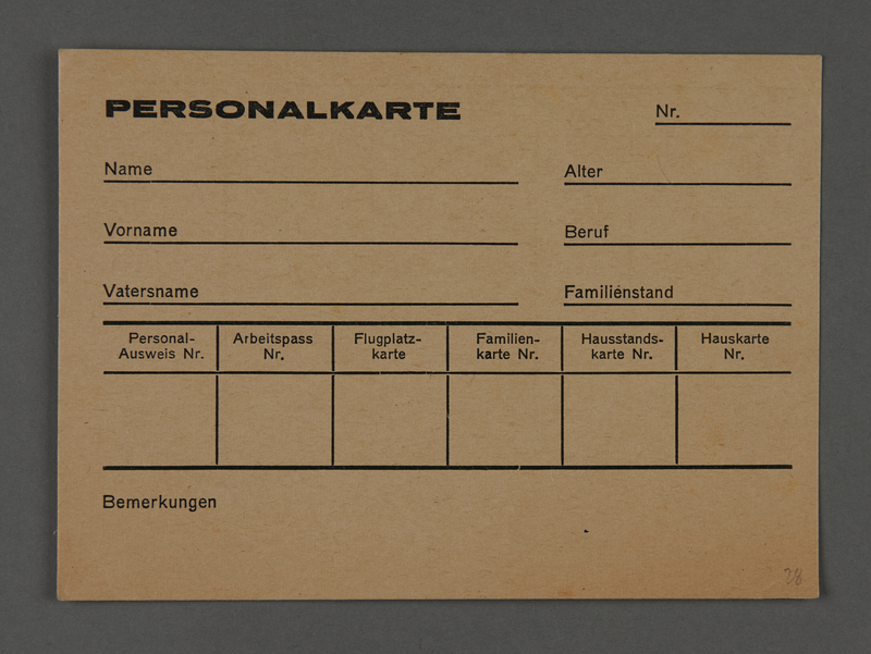 1995.89.255 front Identity card from the Kovno ghetto