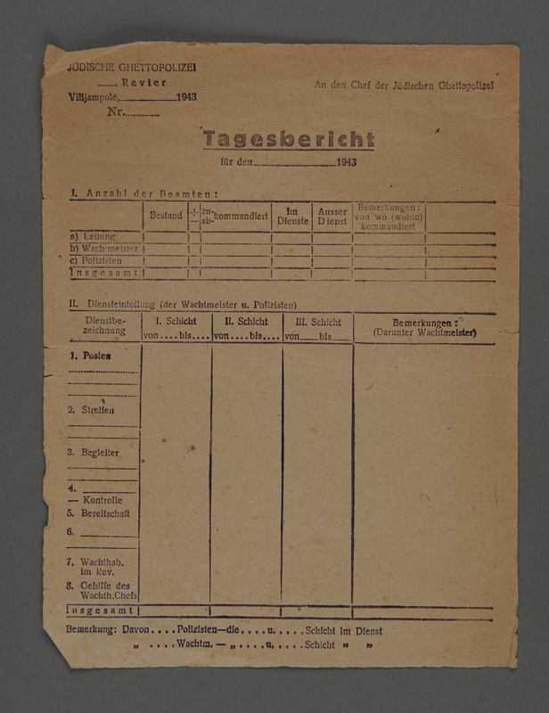 1995.89.256 front Jewish Ghetto Police report form from the Kovno ghetto