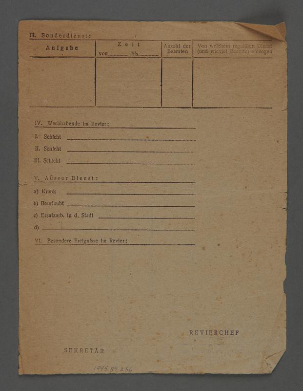 1995.89.256 back Jewish Ghetto Police report form from the Kovno ghetto