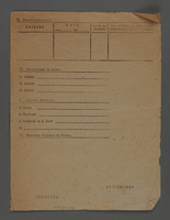1995.89.256 back Jewish Ghetto Police report form from the Kovno ghetto  Click to enlarge
