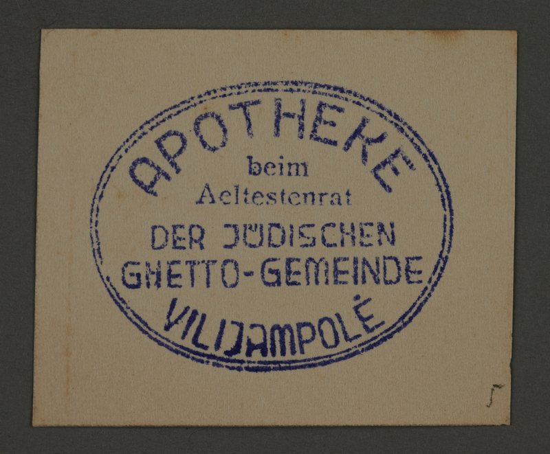 1995.89.258 front Ink stamp impression from the Kovno ghetto apothecary