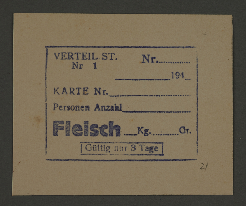 1995.89.260 front Meat coupon from the Kovno ghetto
