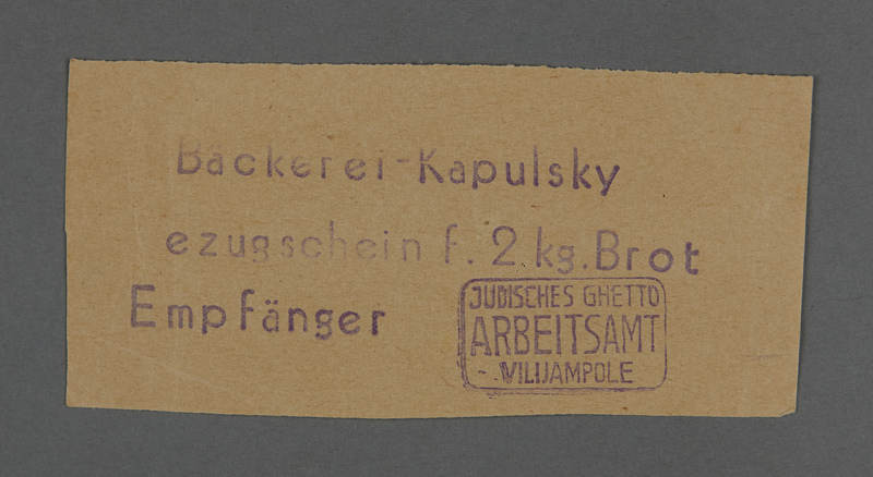 1995.89.261 front Bread coupon from the Kovno ghetto