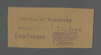 1995.89.261 front Bread coupon from the Kovno ghetto  Click to enlarge