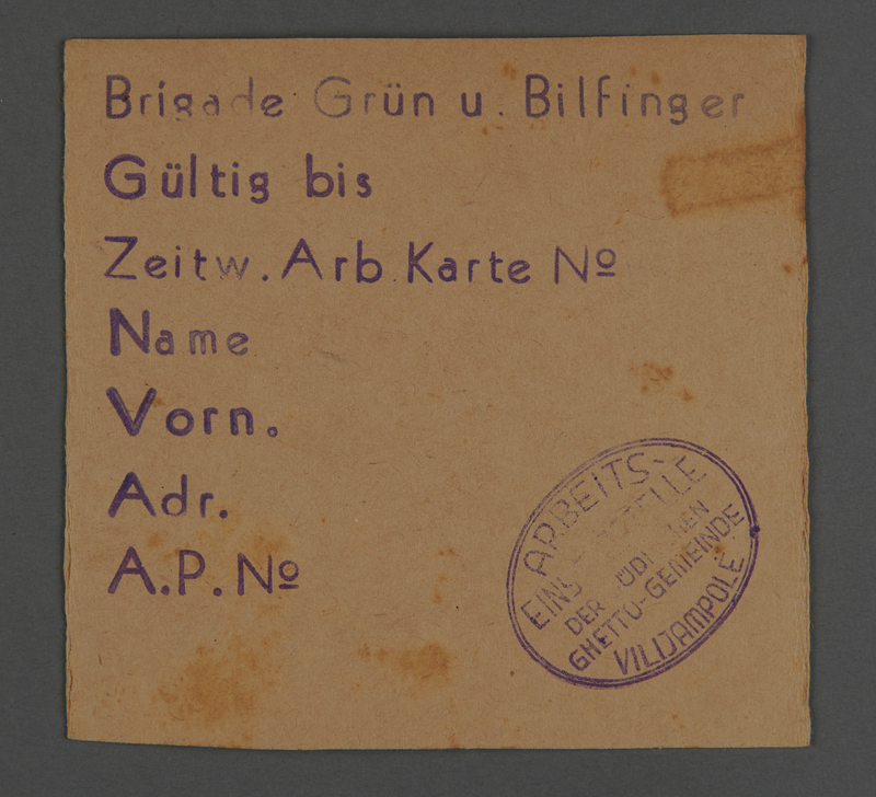1995.89.262 front Work pass from the Kovno ghetto