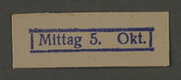 1995.89.279 front Ink stamp impression from an administrative department of the Kovno ghetto  Click to enlarge