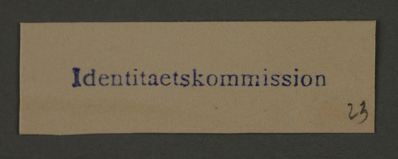 1995.89.282 front Ink stamp impression of the Identity Committee in the Kovno ghetto