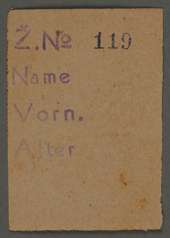 1995.89.284 front Identity card from the Kovno ghetto