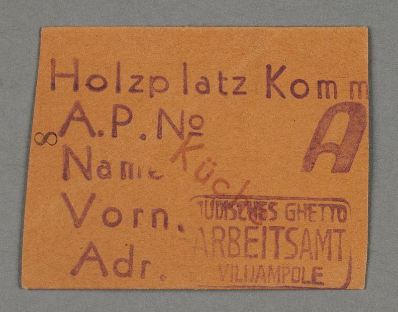 1995.89.285 front Work assignment slip from the Kovno ghetto
